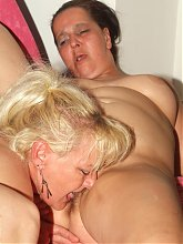 Elizabeth and Julianna are chunky older women taking turns in taking a young cock in their muffs