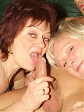 Chunky older gals Paula and Remy resort to sharing a cock to satisfy their cravings for hot sex