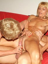 Experienced mature women Ritta and Rosalie take equal turns in riding a young cock