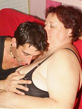 Horny mature BBW Agnes Eva got herself a horny hottie and later takes in his cock in her mouth and pussy
