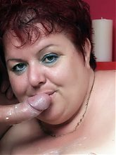 Fat mature Margaret guides a cock into her chubby mound and takes a messy cum facial